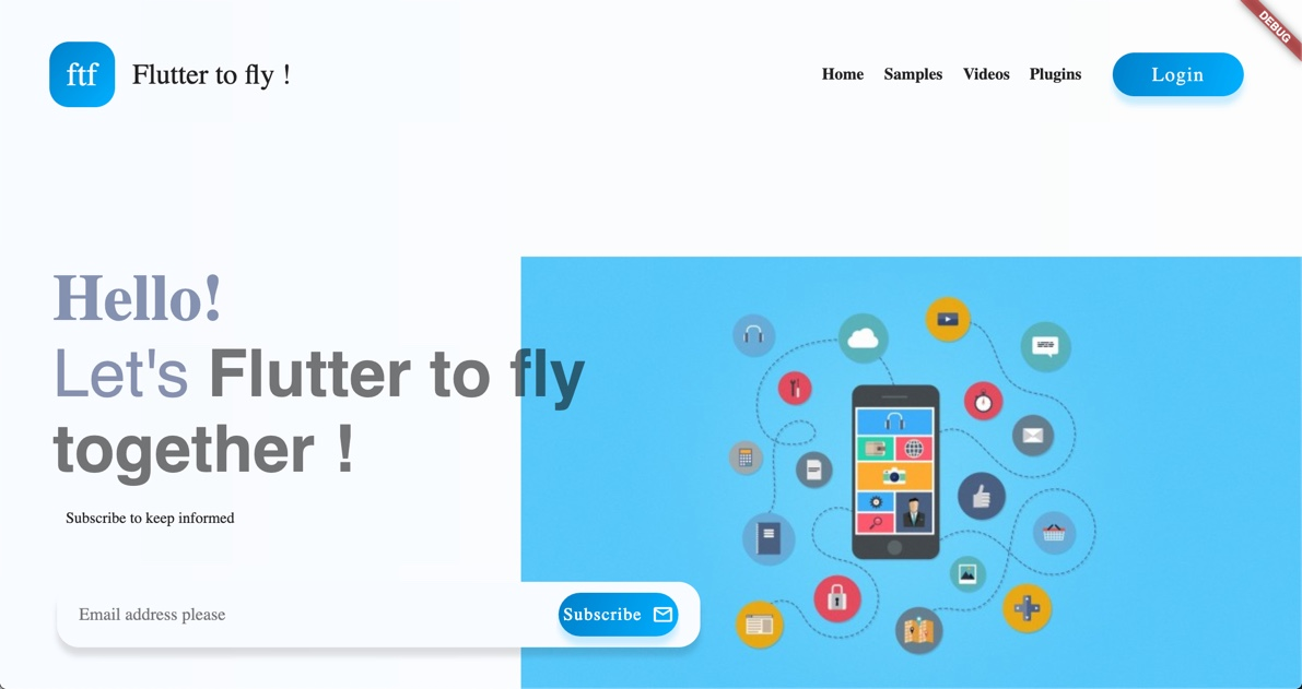 Flutter to fly landing page